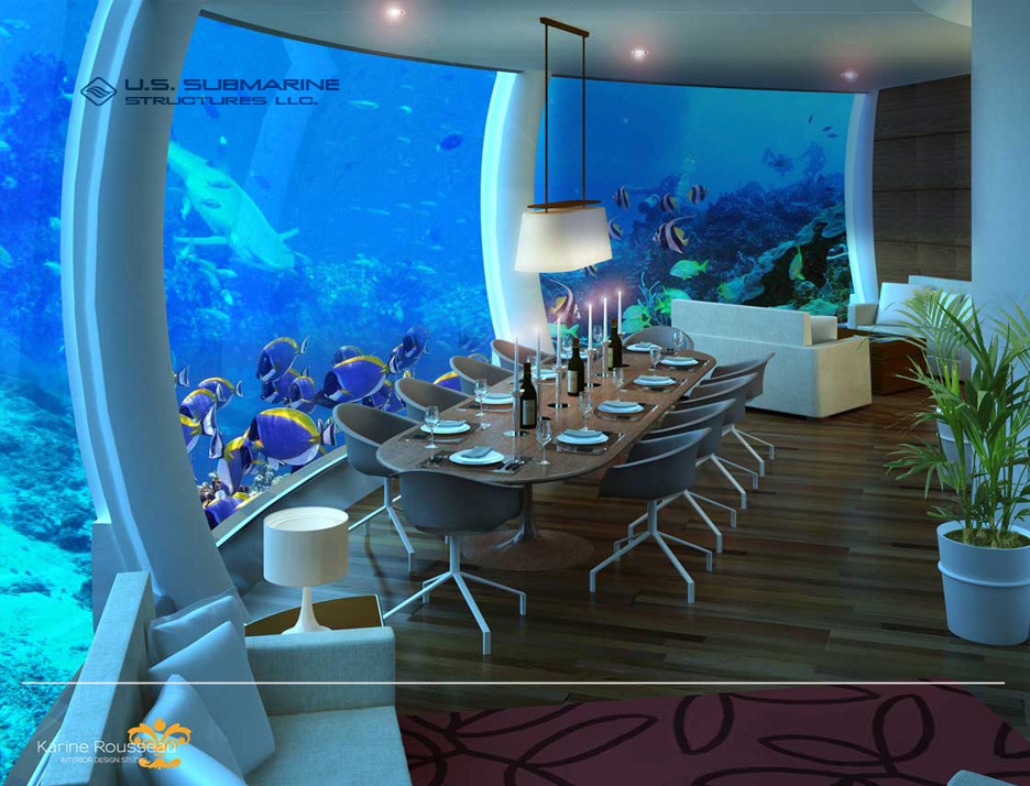 H2ome undersea residence underwater dining room - Creative home with beautiful panorama to provide total comfort living ...